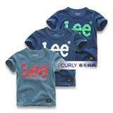 外贸童装2016夏季新款男童纯棉短袖儿童字母T恤宝宝时尚亲子装潮