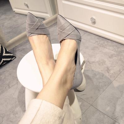 交叉带绒面尖头性感高跟单鞋时尚百搭浅口细跟高跟鞋-尖头性感百搭