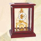 北极星透视客厅欧式实木工艺花梨木镀金机芯机械座钟简约台钟T702