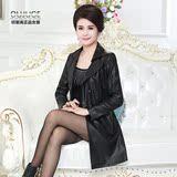 2016秋季新款中年女装PU皮衣外套风衣妈妈装中长款修身皮夹克上衣