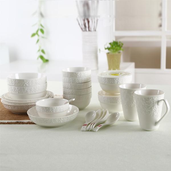 樱吹雪歌曲竖笛谱子-樱之歌 SHUNXIANG 浮雕纯白陶瓷保鲜碗餐具套装 22件套