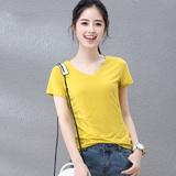 纯色韩版女装体恤上衣打底衫夏季新款V领修身棉黄色短袖T恤女