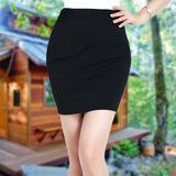 大码弹力包臀短裙职业修身半身裙子春夏款一步裙半裙酒店正装裙黑