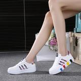 夏季韩版透气皮面休闲鞋女运动厚底白色板鞋学生女鞋圆头小白鞋潮