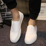 韩版套脚单鞋夏季休闲男鞋不系带小白鞋乐福懒人鞋内增高白色板鞋
