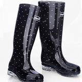 包邮时尚韩版女长筒雨鞋圆点防水鞋高筒平跟水靴防滑耐磨胶鞋春夏