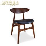现代简约北欧实木餐椅卡尔汉森椅靠背椅牛角椅麻布皮革桌椅子组合
