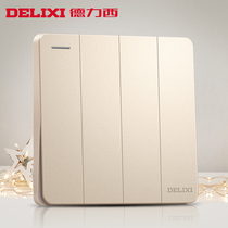 Delixi switch socket champagne gold flat plate four open single control switch 86 household power supply wall panel