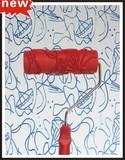 8寸红色硬胶压花滚筒液体壁纸花纹滚筒刷硅藻泥印花施工工具2019T
