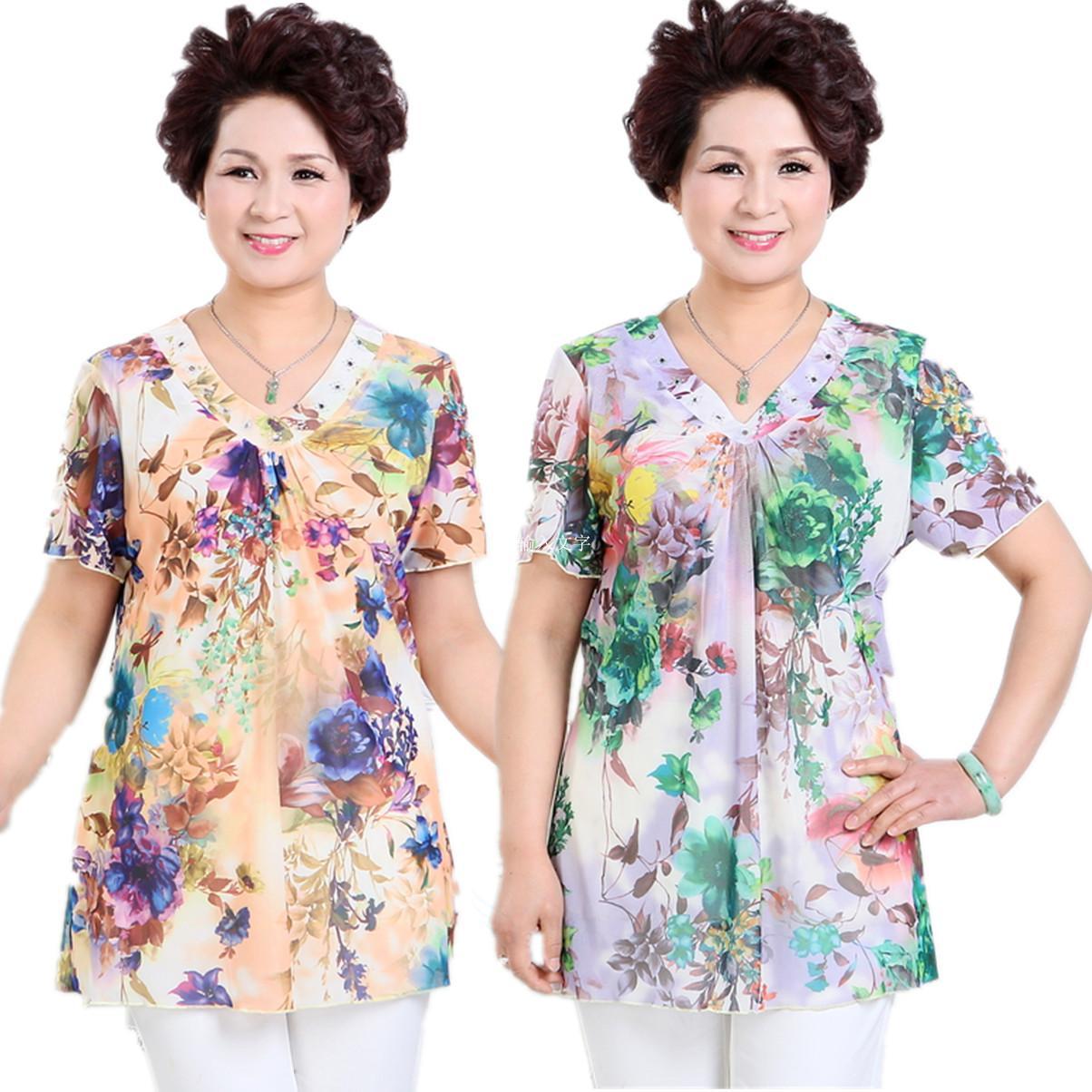 【VIP官网】中老年女式t恤妈妈衫中年韩版夏装妈妈淘宝低至29