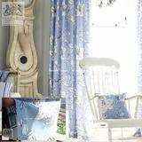 英国进口布艺 纯棉印花布料 蓝色 水墨MP-O-3窗帘 青花 法式田园