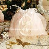 韩国进口现货pink粉嫩镂空蕾丝百褶蝴蝶结梦幻喜饼袋喜糖袋收纳袋