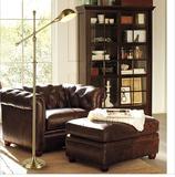 美式乡村复古落地灯 欧式简约创意客厅书房可升降铁艺青古铜地灯