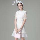 名媛气质镂空蕾丝拼接立领中袖连衣裙2016夏装新款白色鱼尾裙短裙