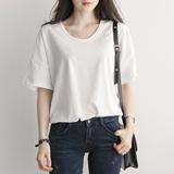翌晨2016夏季新品女装落肩袖韩版宽松棉质圆领短袖白色T恤