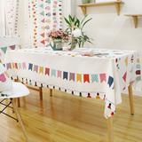 小彩旗天然棉麻布艺餐桌布 书桌盖布 圆桌布 卡通台布 方桌布定制