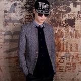 新款秋冬立领西服男青年韩版修身英伦短款毛呢中山小西装外套
