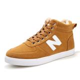 秋冬季帆布鞋运动休闲鞋韩版N字母nb男鞋子男士棉鞋加绒板鞋潮流