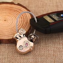 Money lucky bag keychain men and women car key chain pendant creative couple metal key ring ring pendant cute