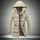 15冬装男士卡其色棉衣中长款羽绒棉服青年男装修身棉袄保暖外套潮