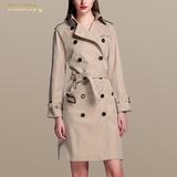 2016春装新款气质淑女女士风衣中长款韩版时尚修身显瘦双排扣外套