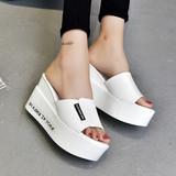韩版新款坡跟厚底一字拖海边凉拖鞋女夏季2016时尚室外穿女鞋子潮