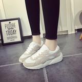 夏季百搭休闲运动鞋女鞋系带韩版镂空透气鞋白色跑步鞋浅口网单鞋