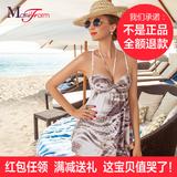 曼妮芬专柜正品 吊带连体裙式有钢圈女士泳衣 高腰挂脖子温泉泳装