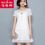 短袖蕾丝衫女夏装新款2016中长款蕾丝打底衫雪纺女t恤宽松大码女