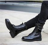 秋冬季潮流军靴真皮男靴子高帮鞋英伦中筒靴韩版马丁靴男加绒皮靴