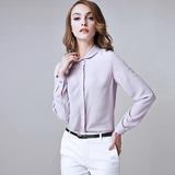 100%桑蚕丝衬衣中长款上衣职业装OL韩版女式长袖真丝衬衫修身百搭