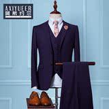 男士西装三件套纯色西服套装男韩版修身型青年免烫新郎结婚礼服潮