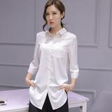 七分袖雪纺衬衫女夏季韩版宽松大码白色中长款百搭上衣中袖衬衣女