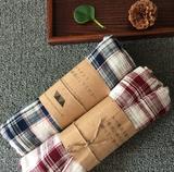 棉麻薄款直筒设计女格子文艺衬衫 打底衫原创日系长袖衬杉学院风