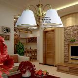 包邮欧式吊灯3-5-6头客厅餐厅卧室田园古铜色布艺灯罩吸顶灯D605