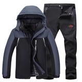 户外冬季冲锋衣套装男女情侣加绒加厚锋衣裤套装两件套登山滑雪服