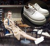 欧洲站真皮小白鞋女松糕底单鞋乐福鞋子 系带厚底休闲圆头漆皮鞋