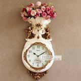 包邮丽盛田园欧式钟表时尚创意挂钟静音壁钟客厅装饰石英钟个性钟