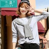 韩版春装圆领大码假两件披肩宽松长袖显瘦T恤女条纹海军风上衣潮