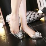灰姑娘水晶鞋春夏婚鞋中跟细跟银色尖头高跟新娘鞋婚纱鞋水钻单鞋