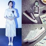 夏季低帮白色帆布鞋女韩版休闲平底平跟板鞋小白鞋子学生情侣球鞋