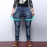 男装夏薄款青年宽松牛仔裤男士直筒修身松紧腰超高弹力长裤加大码