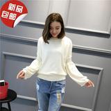 2016秋冬新款韩版灯笼袖毛衣女装纯色套头针织衫打底衫