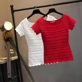 夏季T恤女装韩版百搭短袖镂空显瘦纯色一字领针织上衣女打底衫潮