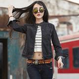 韩版BF立领牛仔外套女学院风时尚休闲中性短款牛仔长袖显瘦上衣潮