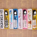 可爱卡通不锈钢筷子勺子叉子学生成人便携式餐具套装三件套旅行盒