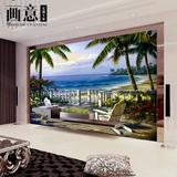 墙纸壁画地中海3D立体风景大型壁画酒店客厅沙发电视美式乡村油画
