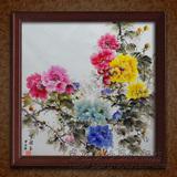 牡丹花中式纯手绘油画客厅玄关装饰画现代花卉简约酒店餐厅水墨画