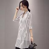 2016夏装新款女装韩版上衣短袖条纹中长款衬衫棉麻宽松衬衣女潮