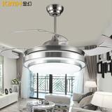 金幻风扇灯客厅灯卧室餐厅吊扇灯具现代简约LED吸顶灯饰 沙镍色亚